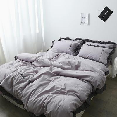 布谷 北欧风蕾丝花边简约纯色四件套 1.5m(5英尺)床 Lace 灰色