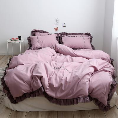 布谷 北欧风蕾丝花边简约纯色四件套 1.5m(5英尺)床 Lace 浅紫