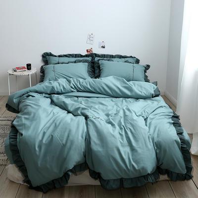 布谷 北欧风蕾丝花边简约纯色四件套 1.5m(5英尺)床 Lace 薄荷绿
