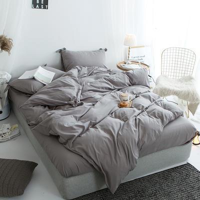 2019新款-纯色蝴蝶结绣花磨毛四件套 床单款四件套1.5m(5英尺)床 苍穹灰