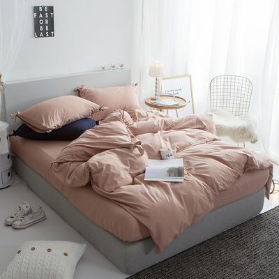 2019新款-纯色蝴蝶结绣花磨毛四件套 床单款四件套1.5m(5英尺)床 藕荷玉