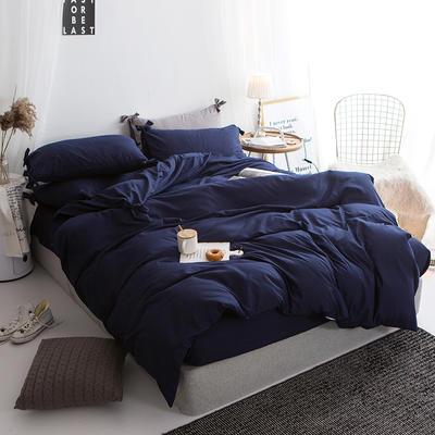 2019新款-纯色蝴蝶结绣花磨毛四件套 床单款四件套1.8m(6英尺)床 石墨蓝