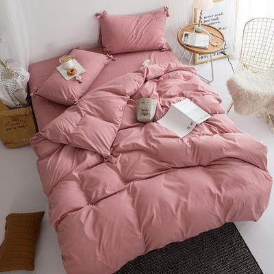 2019新款-纯色蝴蝶结绣花磨毛四件套 床单款四件套1.5m(5英尺)床 甜豆沙