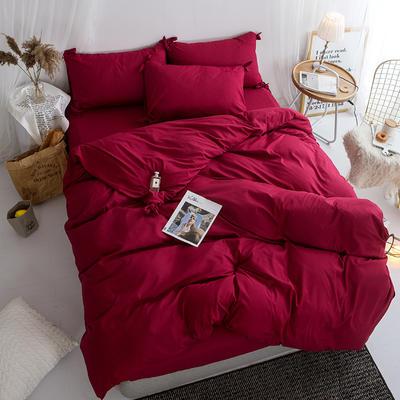2019新款-纯色蝴蝶结绣花磨毛四件套 床单款四件套1.5m(5英尺)床 温莎红