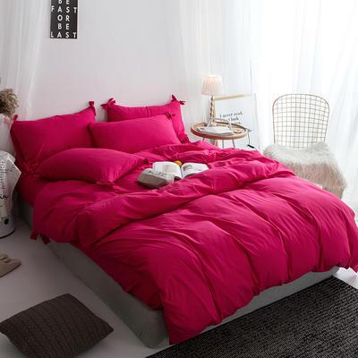 2019新款-纯色蝴蝶结绣花磨毛四件套 床单款四件套1.8m(6英尺)床 胭脂红