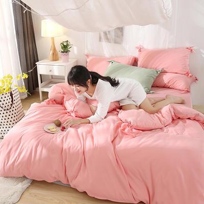 2019新款-纯色蝴蝶结绣花磨毛四件套 床单款四件套1.8m(6英尺)床 樱花草