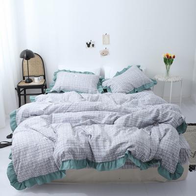 2019新款-芳华里系列磨毛四件套 床单款1.2m(4英尺)床 芳华里-绿