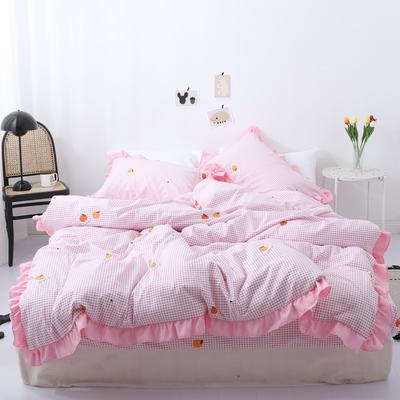 2019新款-芳华里系列磨毛四件套 床单款1.2m(4英尺)床 橘子味-粉