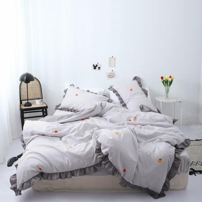 2019新款-芳华里系列磨毛四件套 床单款1.2m(4英尺)床 橘子味-灰