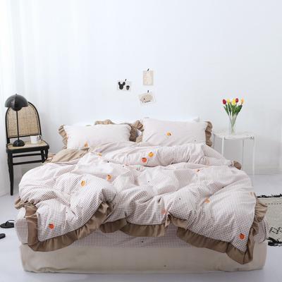 2019新款-芳华里系列磨毛四件套 床单款1.2m(4英尺)床 橘子味-卡其