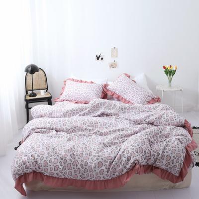 2019新款-芳华里系列磨毛四件套 床单款1.2m(4英尺)床 少女情怀-豆沙