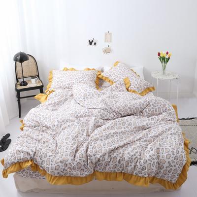 2019新款-芳华里系列磨毛四件套 床单款1.2m(4英尺)床 少女情怀-黄