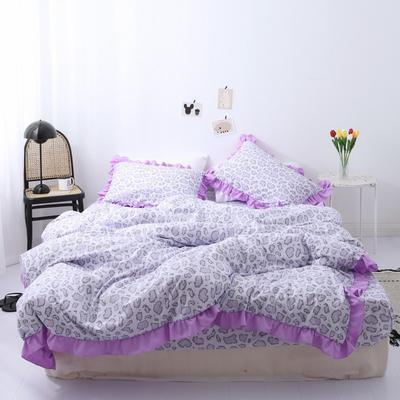2019新款-芳华里系列磨毛四件套 床单款1.2m(4英尺)床 少女情怀-紫