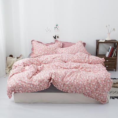 2019新款-皱边系列磨毛四件套 床单款1.8m(6英尺)床 春熙-豆沙