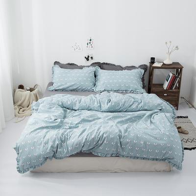 2019新款-皱边系列磨毛四件套 床单款1.8m(6英尺)床 叶芽-淡青