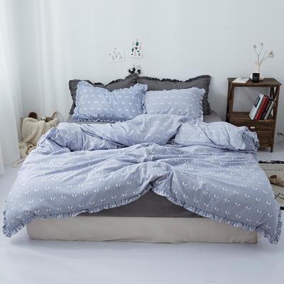 2019新款-皱边系列磨毛四件套 床单款1.5m(5英尺)床 叶芽-淡紫