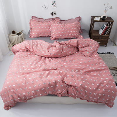 2019新款-皱边系列磨毛四件套 床单款1.8m(6英尺)床 叶芽-红