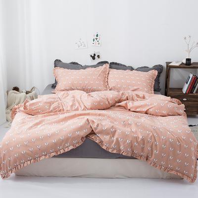 2019新款-皱边系列磨毛四件套 床单款1.5m(5英尺)床 叶芽-玉
