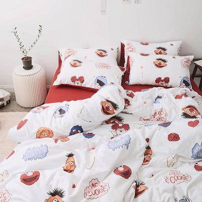 2019新款-芝麻街系列磨毛四件套 床单款1.2m(4英尺)床 芝麻街