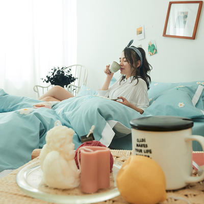 2019新款-化纤磨毛四件套 1.2m(4英尺)床 暗恋-冰川蓝