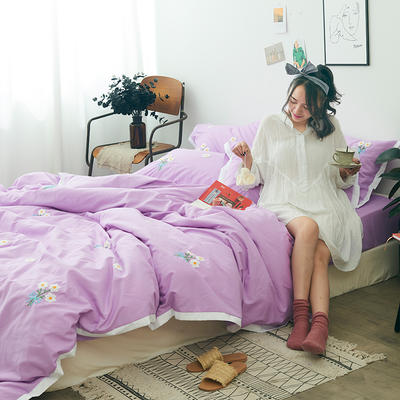 2019新款-化纤磨毛四件套 1.8m(6英尺)床 暗恋-罗兰紫
