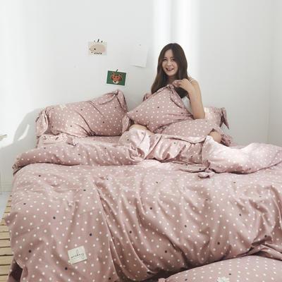 2019新品-化纤蝴蝶结四件套 床单款四件套1.5m(5英尺)床 圈圈-豆沙