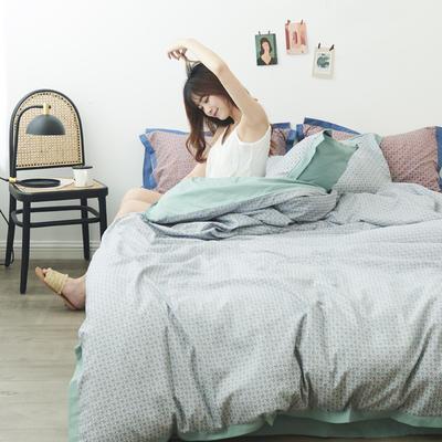 2019新款-北欧宽边模特图四系列模特图 床单款四件套1.5m(5英尺)床 茶靡-绿