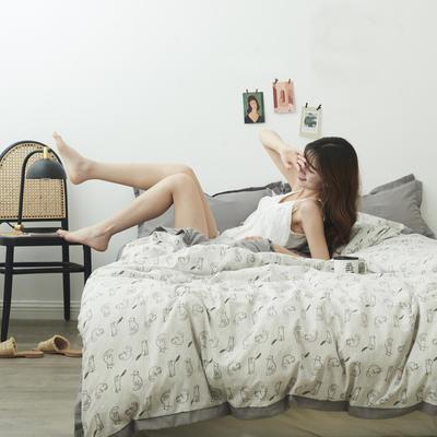 2019新款-宽边四件套系列模特图 床单款四件套1.5m(5英尺)床 猫的微笑