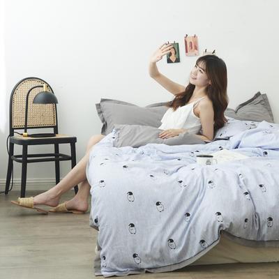 2019新款-宽边四件套系列模特图 床单款四件套1.8m(6英尺)床 企鹅的鱼