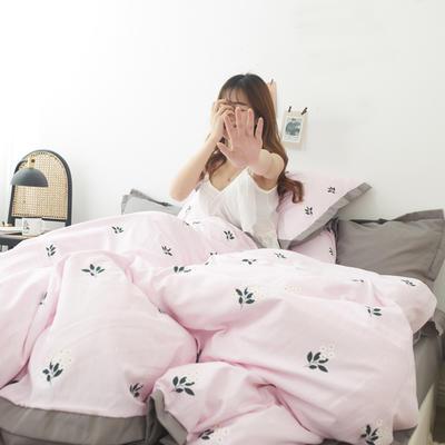 2019新款-宽边四件套系列模特图 床单款四件套1.8m(6英尺)床 一枝春色