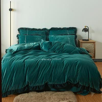 2019新款-小资绒四件套 床单款1.8m(6英尺)床 墨绿