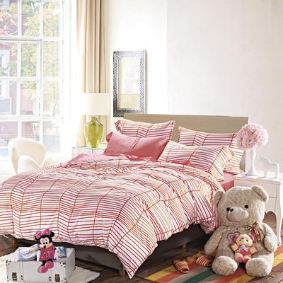 2019新款-40s13372全棉宜家印花四件套系列 床单款四件套1.5m(5英尺)床 涩