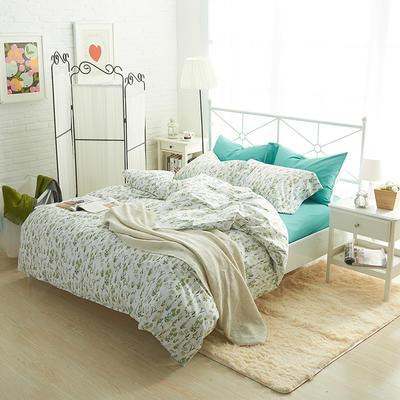 2019新款-40s13372全棉宜家印花四件套系列 床单款四件套1.8m(6英尺)床 原