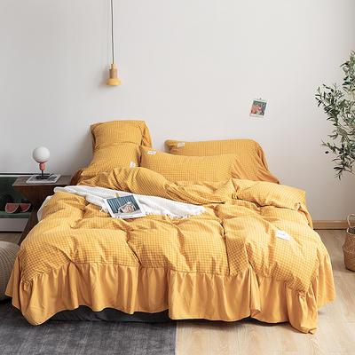 2019新款-磨毛工艺款格子四件套 床单款四件套1.5m(5英尺)床 秘密黄花边款