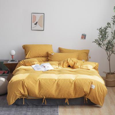 2019新款-磨毛工艺款格子四件套 床单款四件套1.5m(5英尺)床 秘密黄系带款