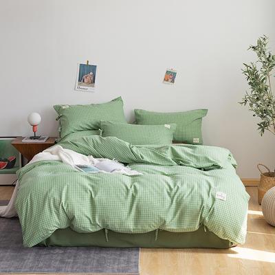 2019新款-磨毛工艺款格子四件套 床单款四件套1.5m(5英尺)床 抹茶绿系带款