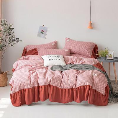 2019新款-磨毛工艺款格子四件套 床单款四件套1.5m(5英尺)床 香榭红花边款