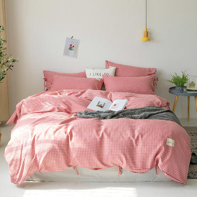 2019新款-磨毛工艺款格子四件套 床单款四件套1.5m(5英尺)床 香榭红系带款