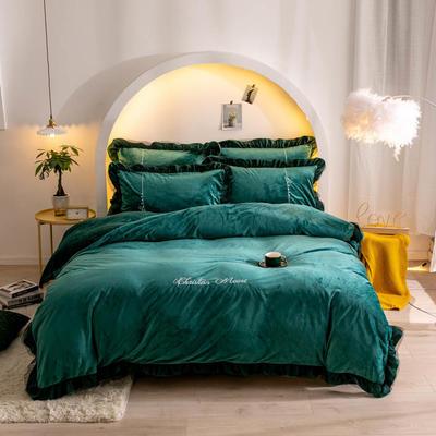 2019新款-双拼印花魔法绒四件套 床单款四件套1.8m(6英尺)床 小资墨绿(双面绒)