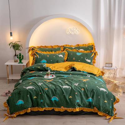 2020新款-花边蝴蝶结草莓派系列化纤四件套 床单款四件套1.5m(5英尺)床 侏罗纪