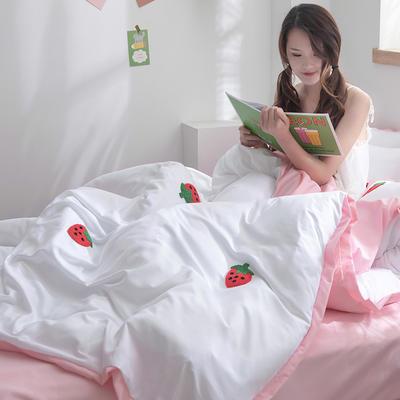 2020新款-化纤磨毛四件套 床单款1.8m(6英尺)床 草莓熟了-嫩粉色