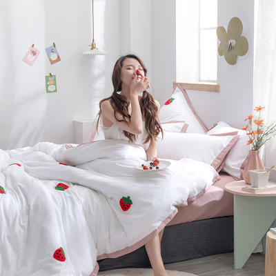 2020新款-化纤磨毛四件套 床单款1.8m(6英尺)床 草莓熟了-耦合玉