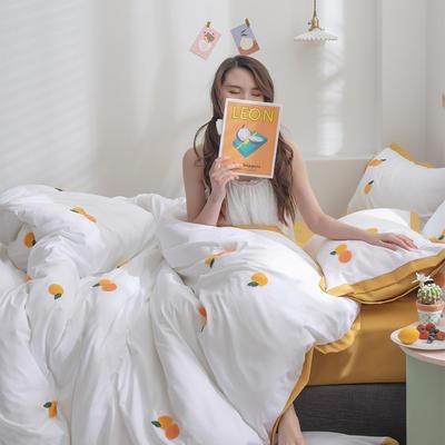 2020新款-化纤磨毛四件套 床单款1.8m(6英尺)床 橘子熟了-发财黄