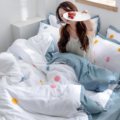 2020新款-化纤磨毛四件套 床单款1.8m(6英尺)床 圈圈甜甜-滨海蓝