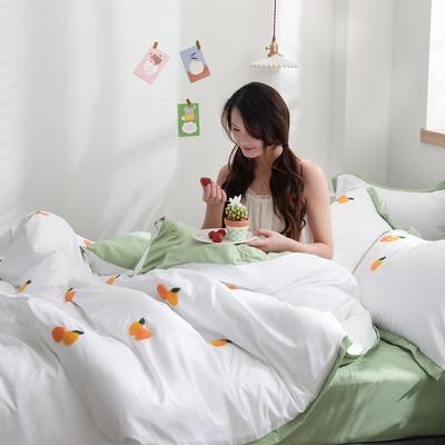 2020新款-化纤磨毛四件套 床单款1.8m(6英尺)床 橘子熟了-青春绿