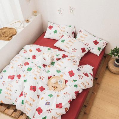 2020新款-巧克力化纤磨毛四件套 床单款四件套1.5m(5英尺)床 红花