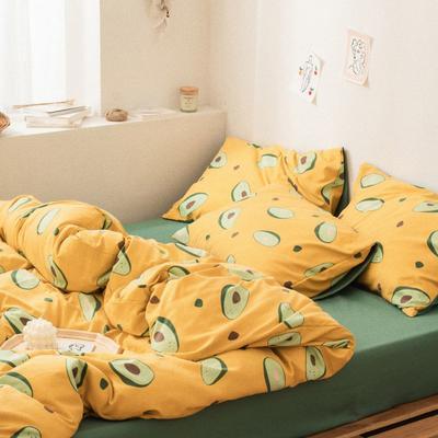 2020新款-巧克力化纤磨毛四件套 床单款四件套1.5m(5英尺)床 牛油果