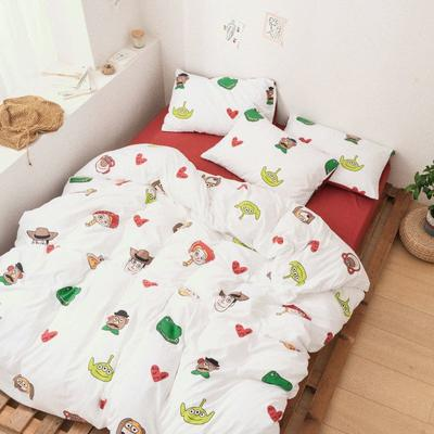 2020新款-巧克力化纤磨毛四件套 床单款四件套1.5m(5英尺)床 草莓熊熊