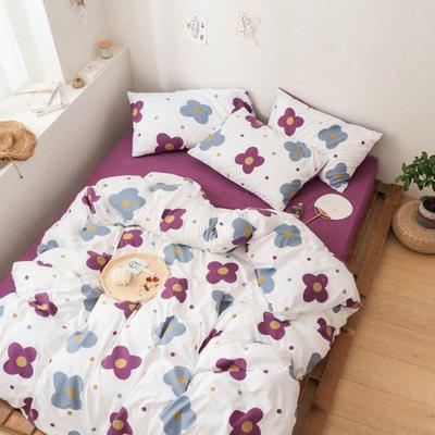 2020新款-巧克力化纤磨毛四件套 床单款四件套1.5m(5英尺)床 紫紫发发