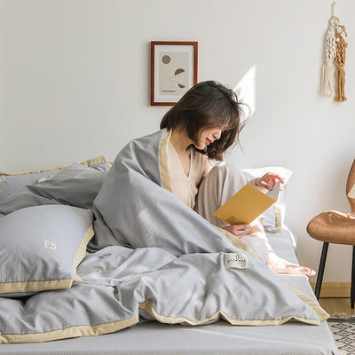 2020新款-格子系列四件套 床单款四件套1.5m(5英尺)床 典雅灰